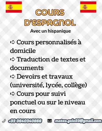 Cours particuliers d'espagnol avec un hispanique + traduction de textes et documents